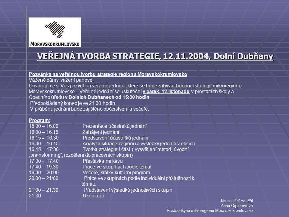 VEŘEJNÁ TVORBA STRATEGIE, 12.11.2004, Dolní Dubňany
