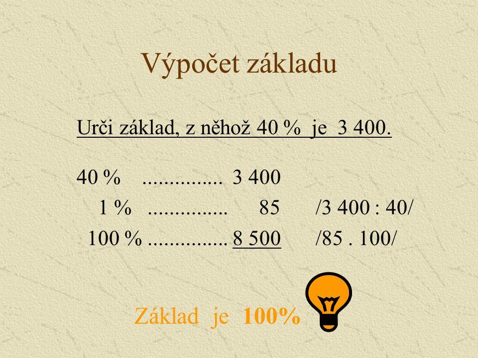 Výpočet základu Základ je 100% Urči základ, z něhož 40 % je 3 400.