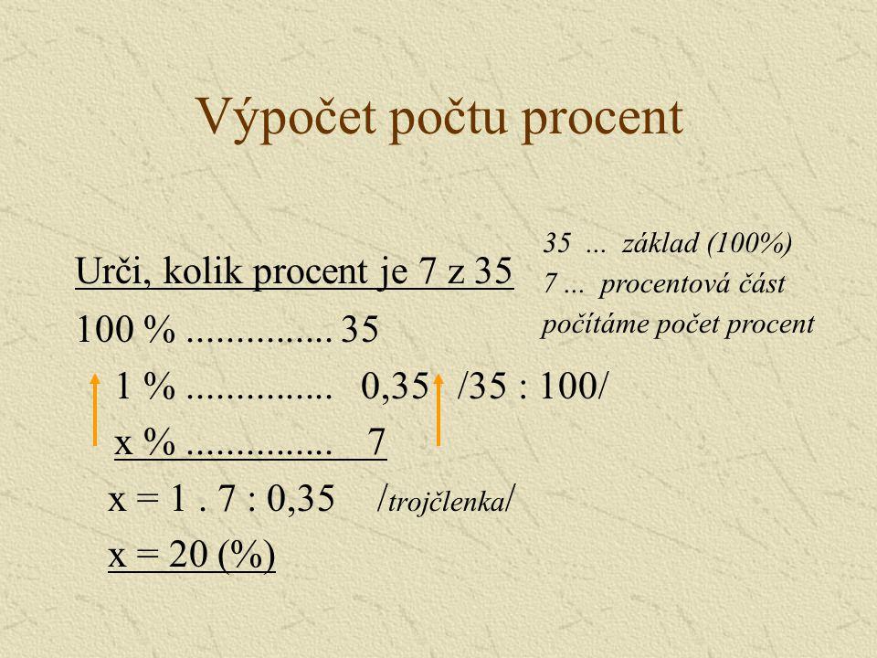 Výpočet počtu procent Urči, kolik procent je 7 z 35