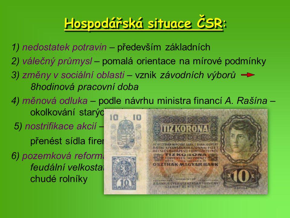 Hospodářská situace ČSR: