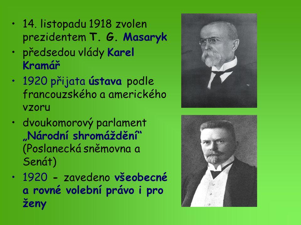 14. listopadu 1918 zvolen prezidentem T. G. Masaryk