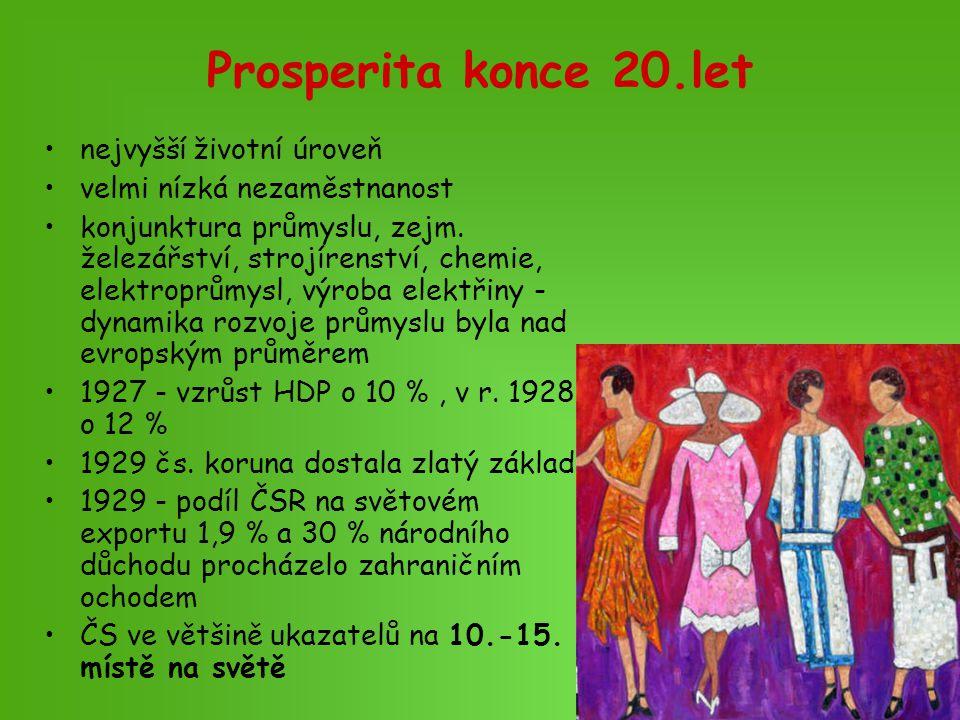 Prosperita konce 20.let nejvyšší životní úroveň