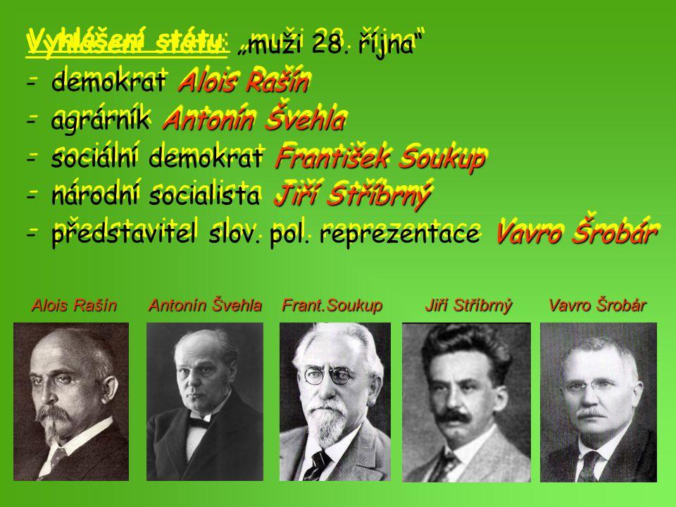 """Vyhlášení státu: """"muži 28. října demokrat Alois Rašín"""