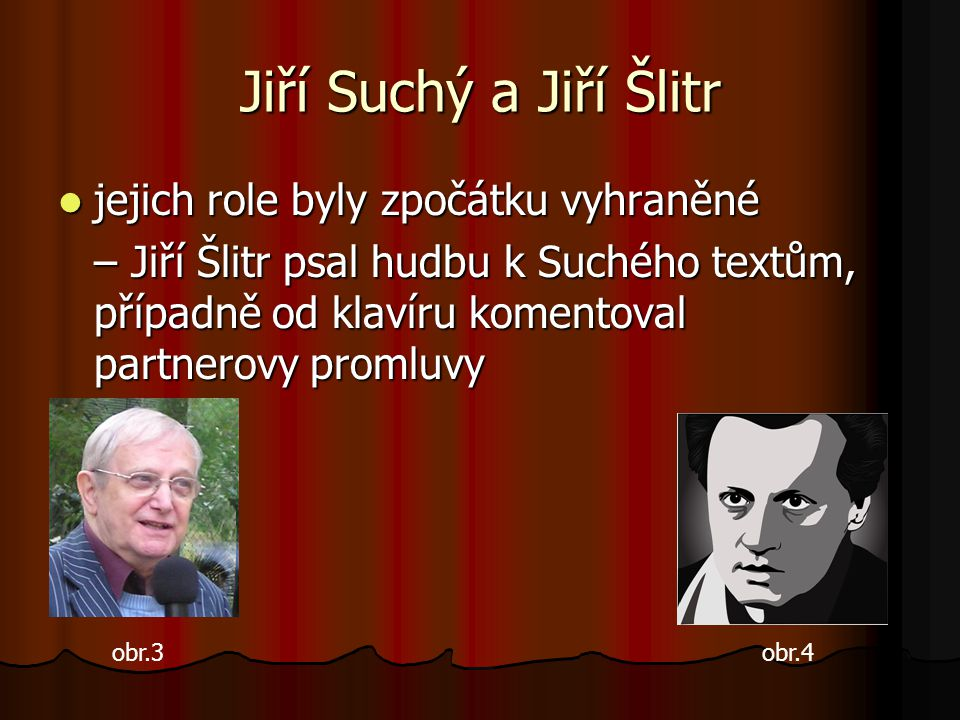 Jiří Suchý a Jiří Šlitr jejich role byly zpočátku vyhraněné