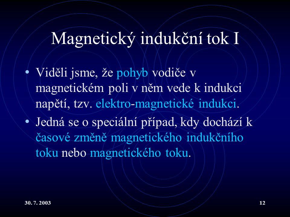 Magnetický indukční tok I