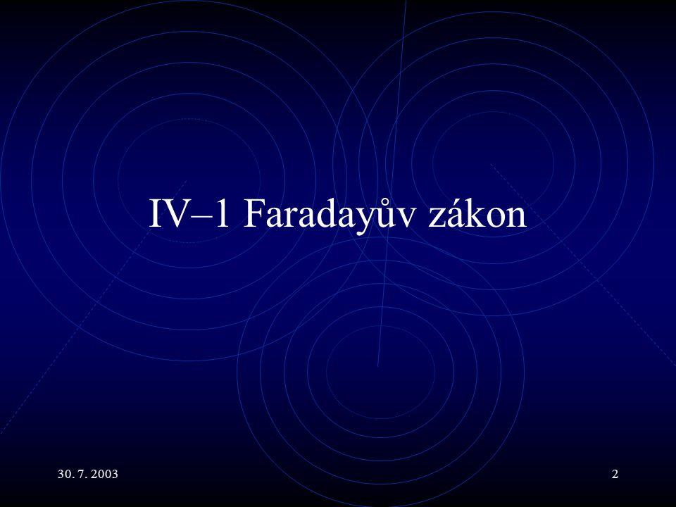 IV–1 Faradayův zákon 30. 7. 2003