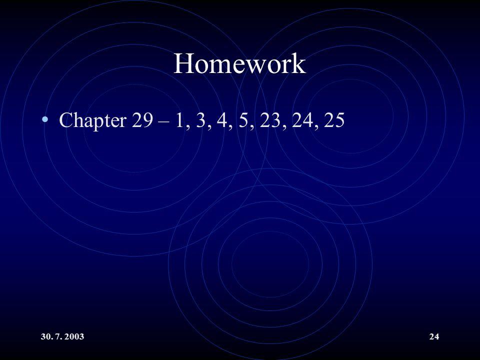 Homework Chapter 29 – 1, 3, 4, 5, 23, 24, 25 30. 7. 2003