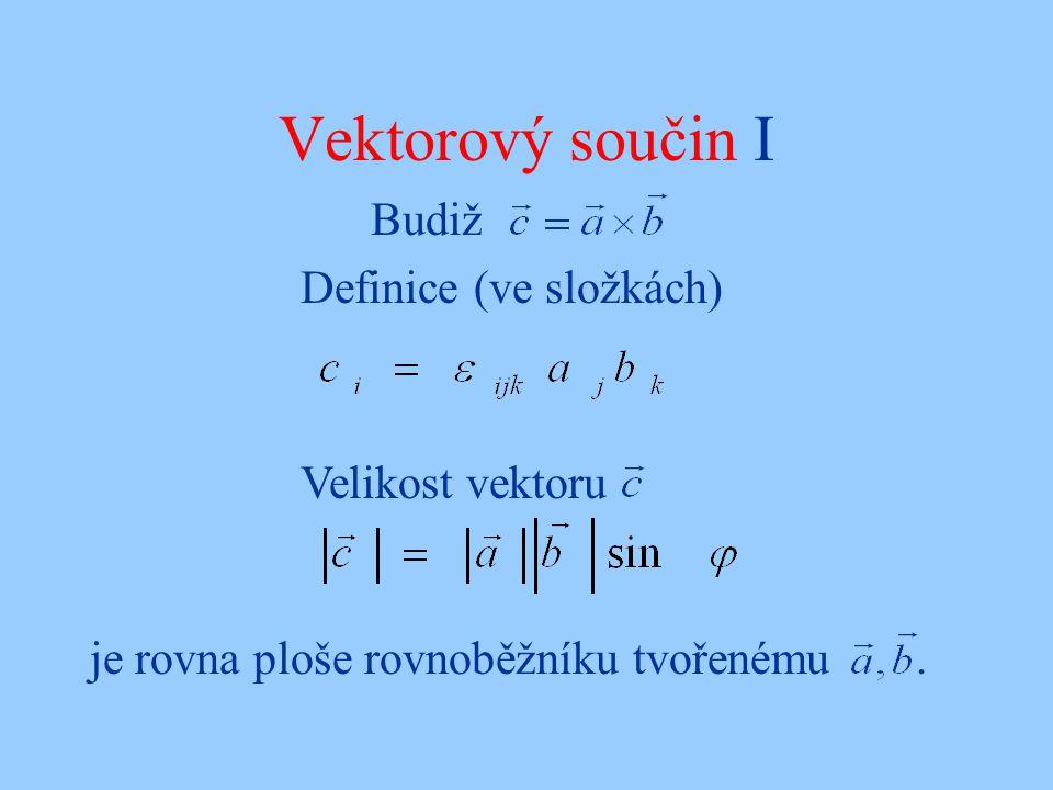Vektorový součin I Budiž Definice (ve složkách) Velikost vektoru