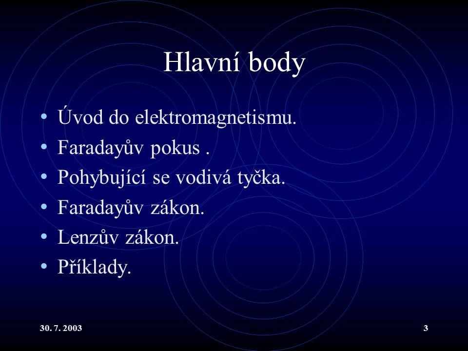 Hlavní body Úvod do elektromagnetismu. Faradayův pokus .