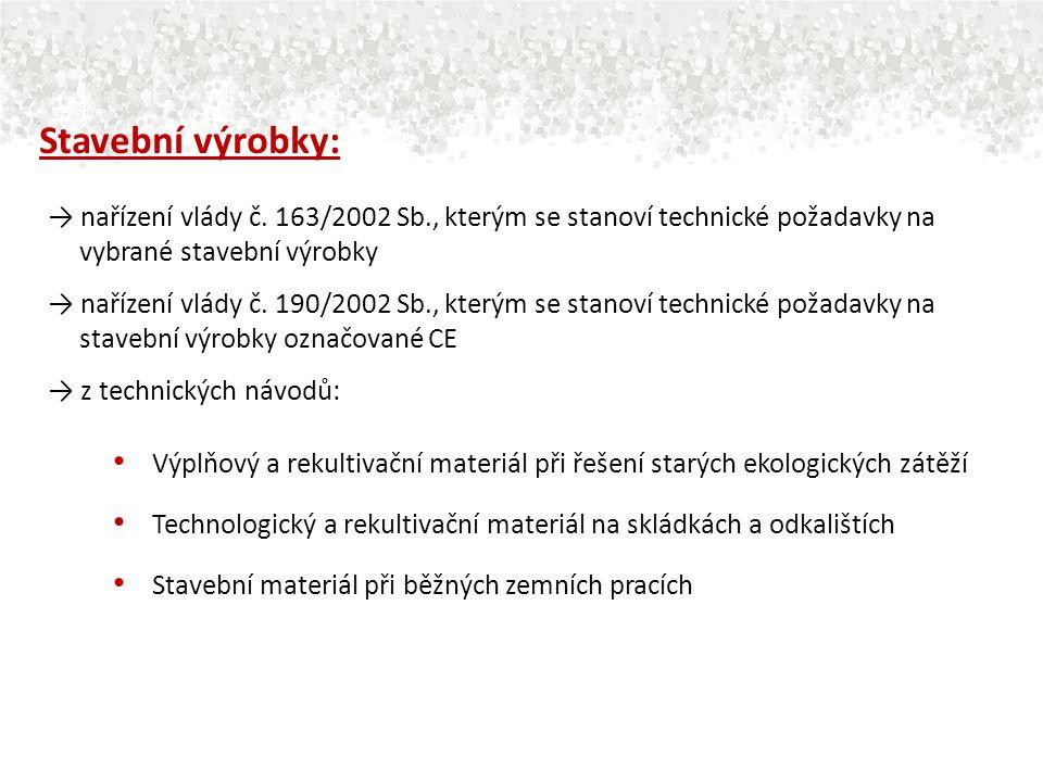 Stavební výrobky: → nařízení vlády č. 163/2002 Sb., kterým se stanoví technické požadavky na vybrané stavební výrobky.