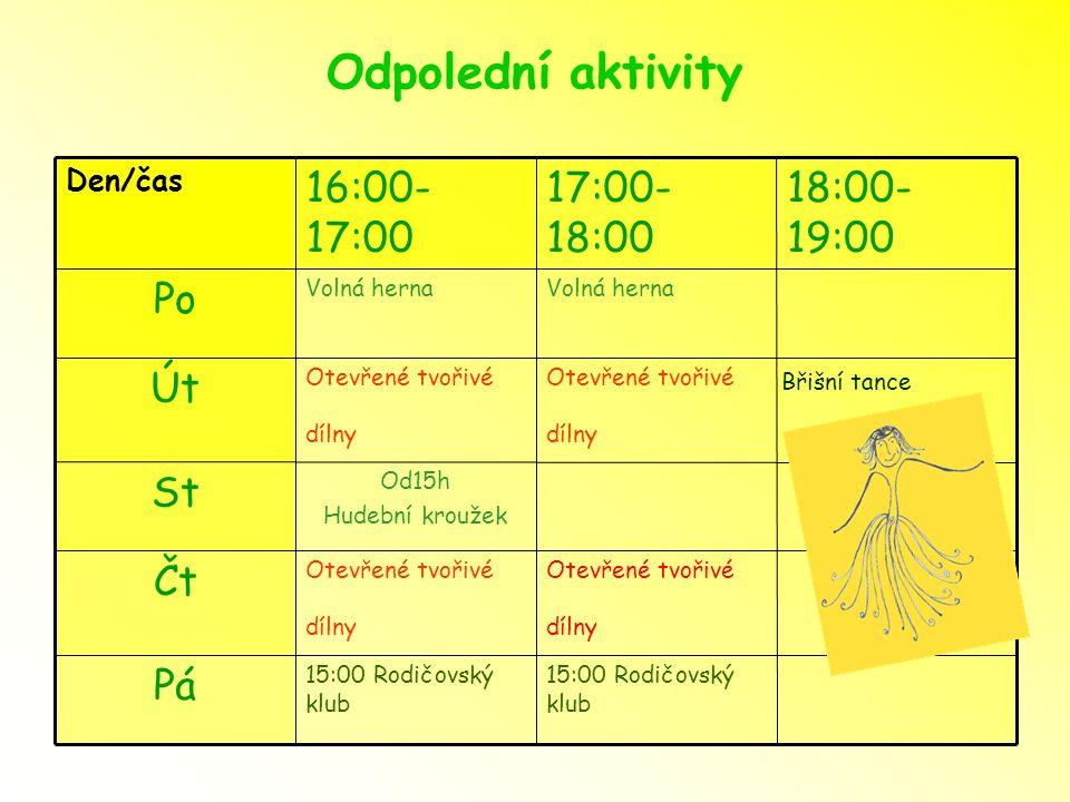 Odpolední aktivity Pá Čt St Út Po 18:00- 19:00 17:00- 18:00