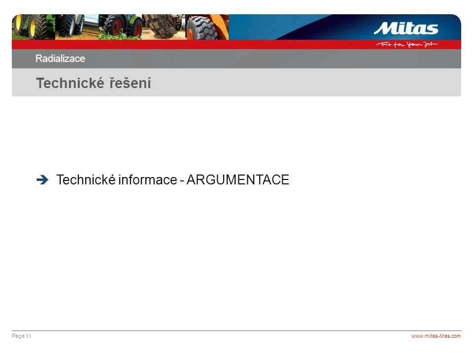 Technické řešení Technické informace - ARGUMENTACE Radializace