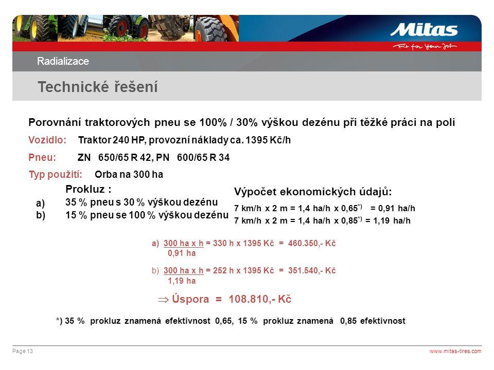 Radializace Technické řešení. Porovnání traktorových pneu se 100% / 30% výškou dezénu při těžké práci na poli.
