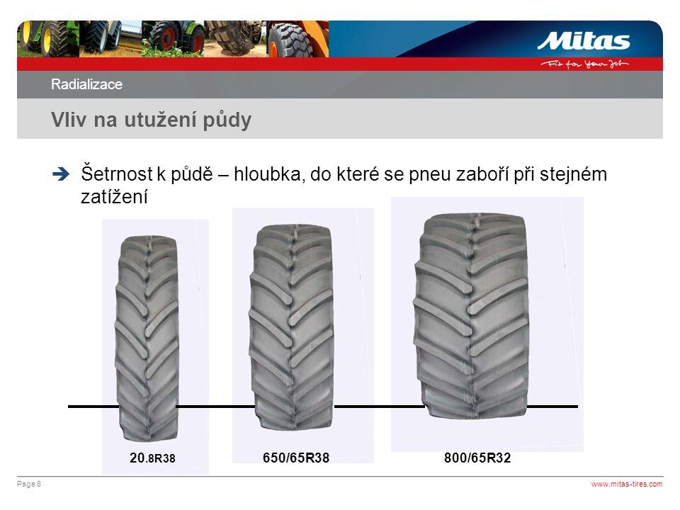 Radializace Vliv na utužení půdy. Šetrnost k půdě – hloubka, do které se pneu zaboří při stejném zatížení.