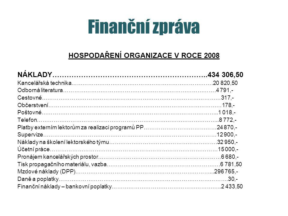 HOSPODAŘENÍ ORGANIZACE V ROCE 2008