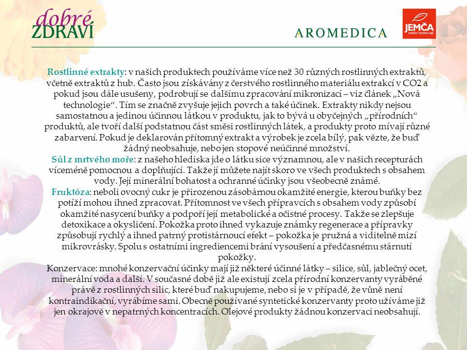 Rostlinné extrakty: v našich produktech používáme více než 30 různých rostlinných extraktů, včetně extraktů z hub.