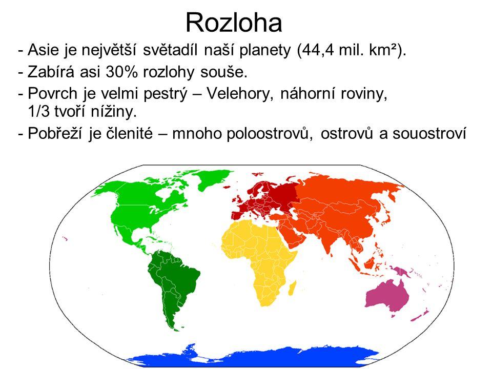 Rozloha - Asie je největší světadíl naší planety (44,4 mil. km²).