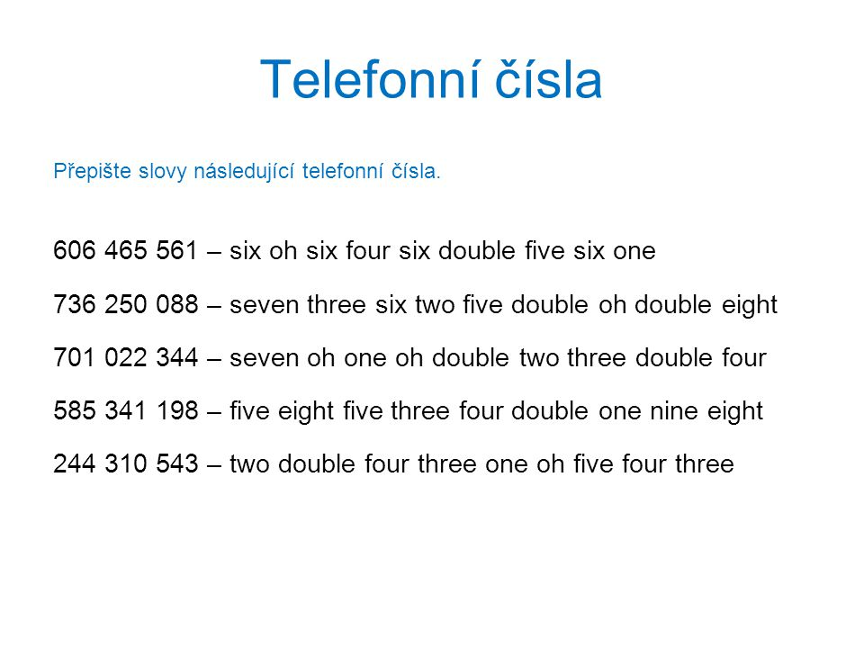 Telefonní čísla 606 465 561 – six oh six four six double five six one