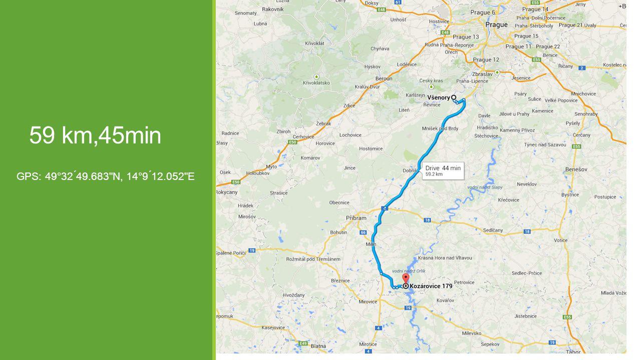 59 km,45min GPS: 49°32 ́49.683 N, 14°9 ́12.052 E