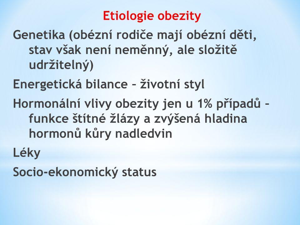 Etiologie obezity Genetika (obézní rodiče mají obézní děti, stav však není neměnný, ale složitě udržitelný)