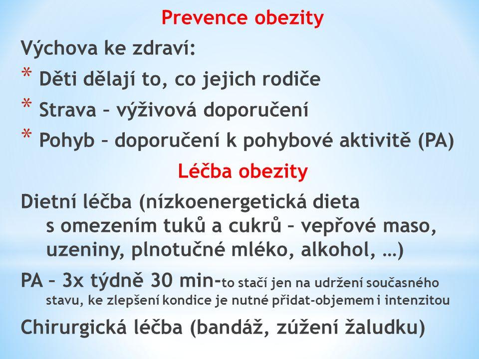 Prevence obezity Výchova ke zdraví: Děti dělají to, co jejich rodiče. Strava – výživová doporučení.