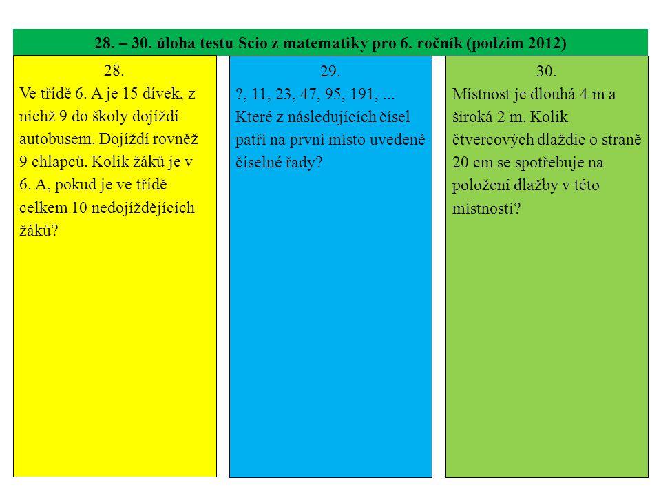28. – 30. úloha testu Scio z matematiky pro 6. ročník (podzim 2012)