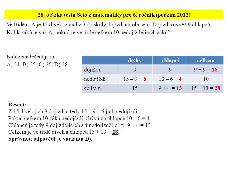 28. otázka testu Scio z matematiky pro 6. ročník (podzim 2012)