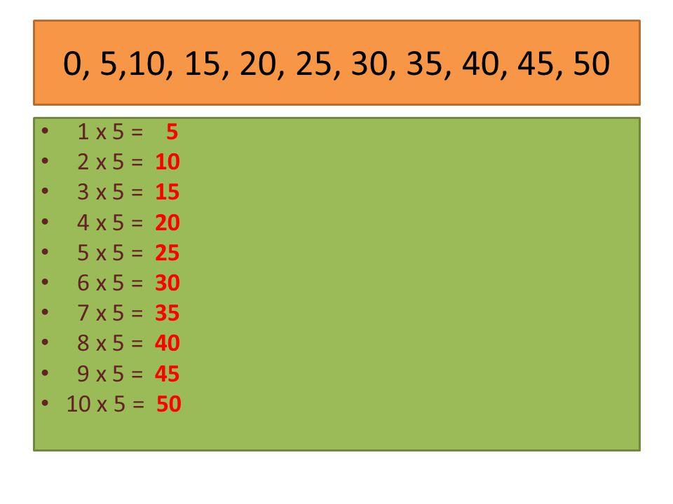 0, 5,10, 15, 20, 25, 30, 35, 40, 45, 50 1 x 5 = 5. 2 x 5 = 10. 3 x 5 = 15. 4 x 5 = 20. 5 x 5 = 25.