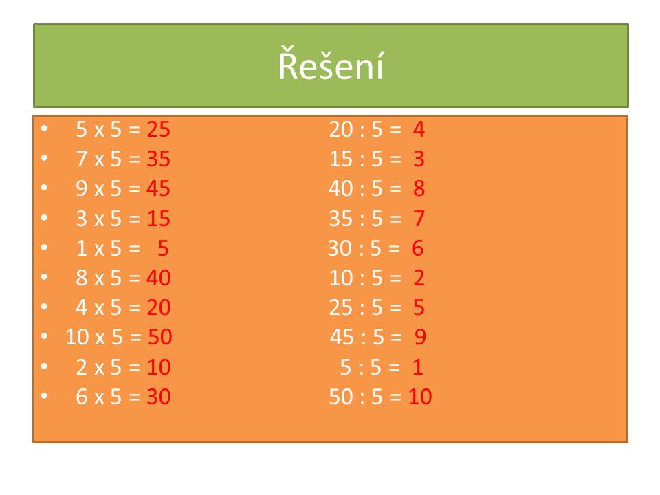 Řešení 5 x 5 = 25 20 : 5 = 4. 7 x 5 = 35 15 : 5 = 3.