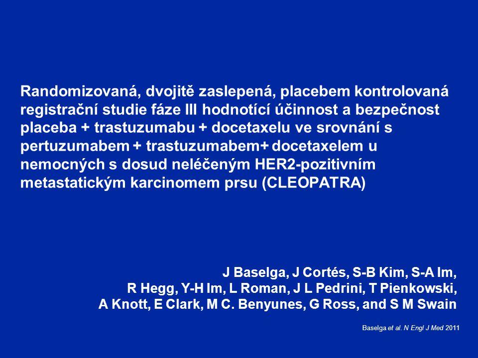 Randomizovaná, dvojitě zaslepená, placebem kontrolovaná registrační studie fáze III hodnotící účinnost a bezpečnost placeba + trastuzumabu + docetaxelu ve srovnání s pertuzumabem + trastuzumabem+ docetaxelem u nemocných s dosud neléčeným HER2-pozitivním metastatickým karcinomem prsu (CLEOPATRA)