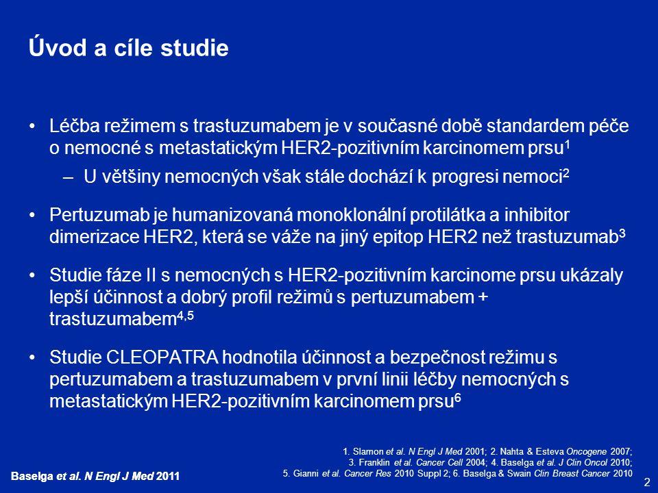 Úvod a cíle studie Léčba režimem s trastuzumabem je v současné době standardem péče o nemocné s metastatickým HER2-pozitivním karcinomem prsu1.