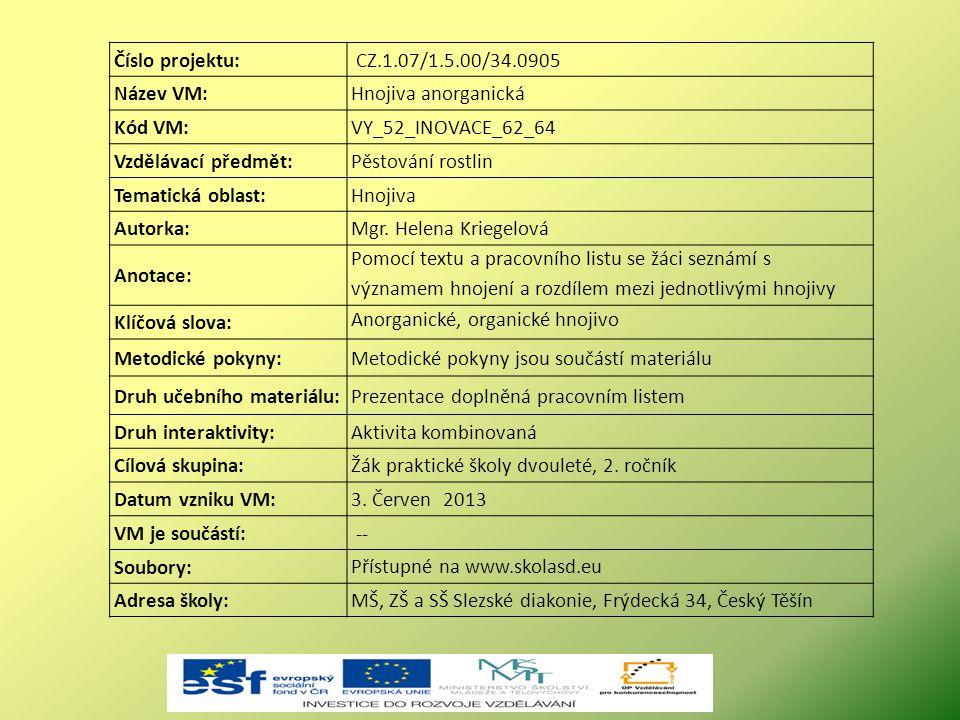 Číslo projektu: CZ.1.07/1.5.00/34.0905. Název VM: Hnojiva anorganická. Kód VM: VY_52_INOVACE_62_64.