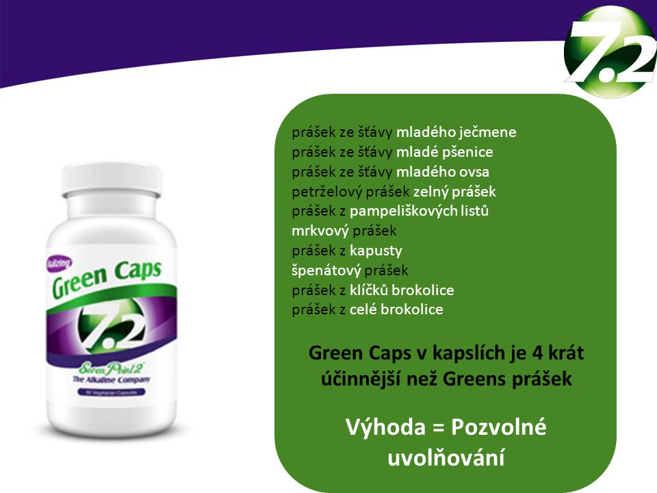 7.2 GREEN CAPS Výhoda = Pozvolné uvolňování