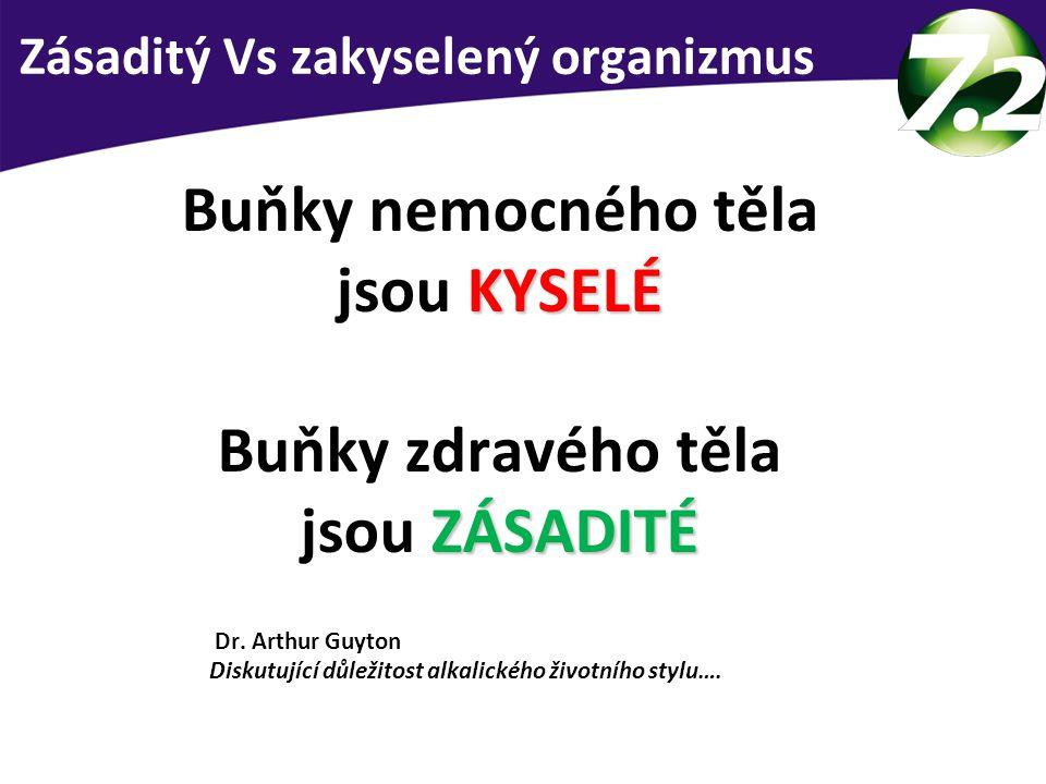 Buňky nemocného těla jsou KYSELÉ Buňky zdravého těla jsou ZÁSADITÉ