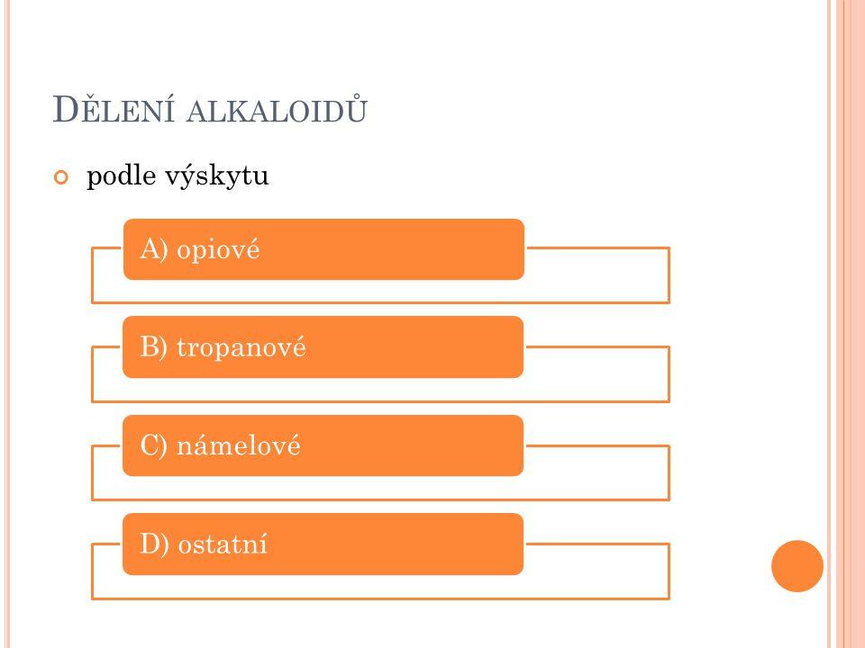 Dělení alkaloidů podle výskytu A) opiové B) tropanové C) námelové