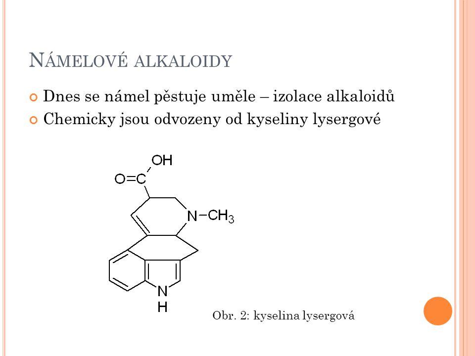 Námelové alkaloidy Dnes se námel pěstuje uměle – izolace alkaloidů