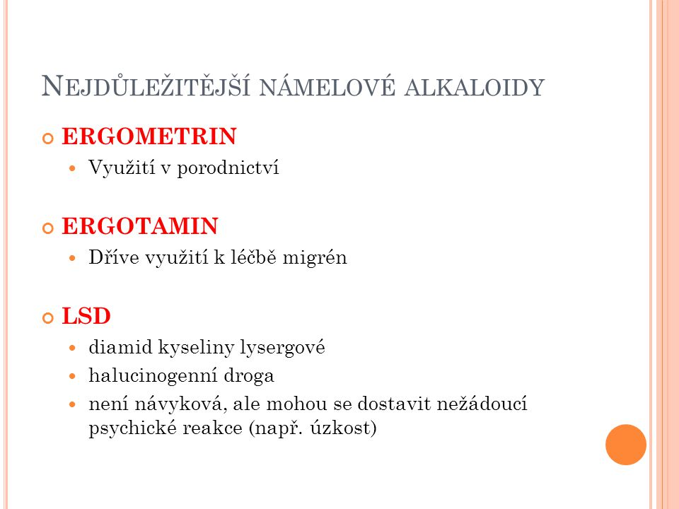 Nejdůležitější námelové alkaloidy