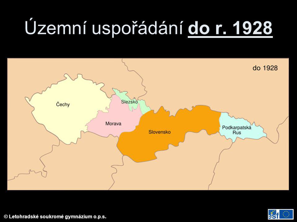 Územní uspořádání do r. 1928