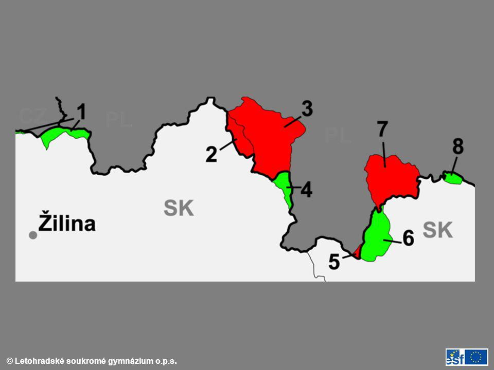map of Slovakia with border-changes in the north against Poland