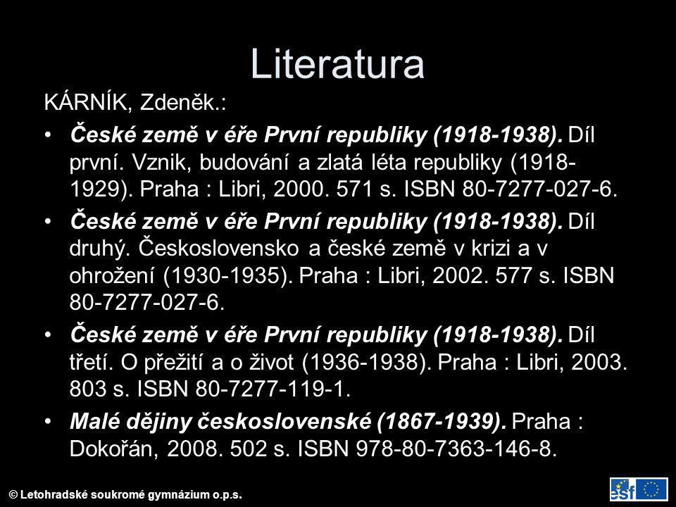 Literatura KÁRNÍK, Zdeněk.: