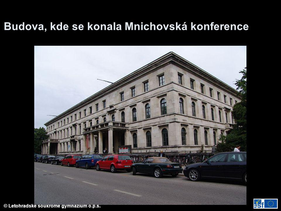 Budova, kde se konala Mnichovská konference