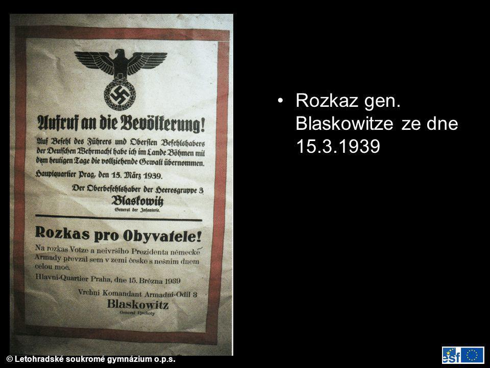 Rozkaz gen. Blaskowitze ze dne 15.3.1939