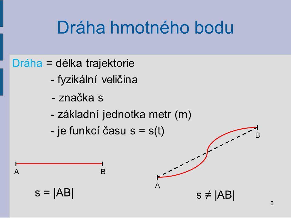 Dráha hmotného bodu - značka s Dráha = délka trajektorie