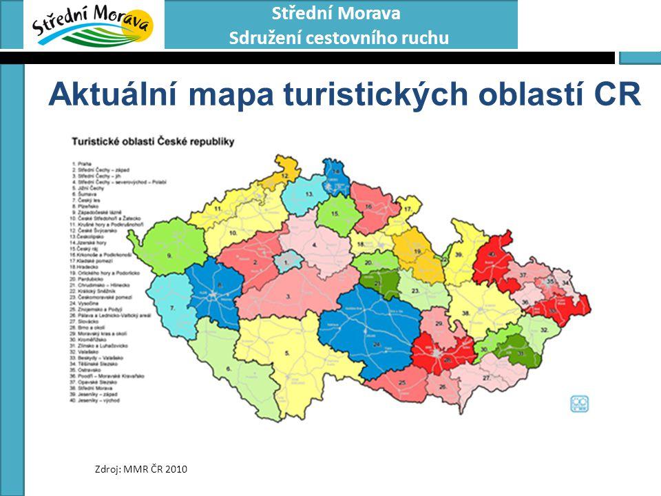 Aktuální mapa turistických oblastí CR