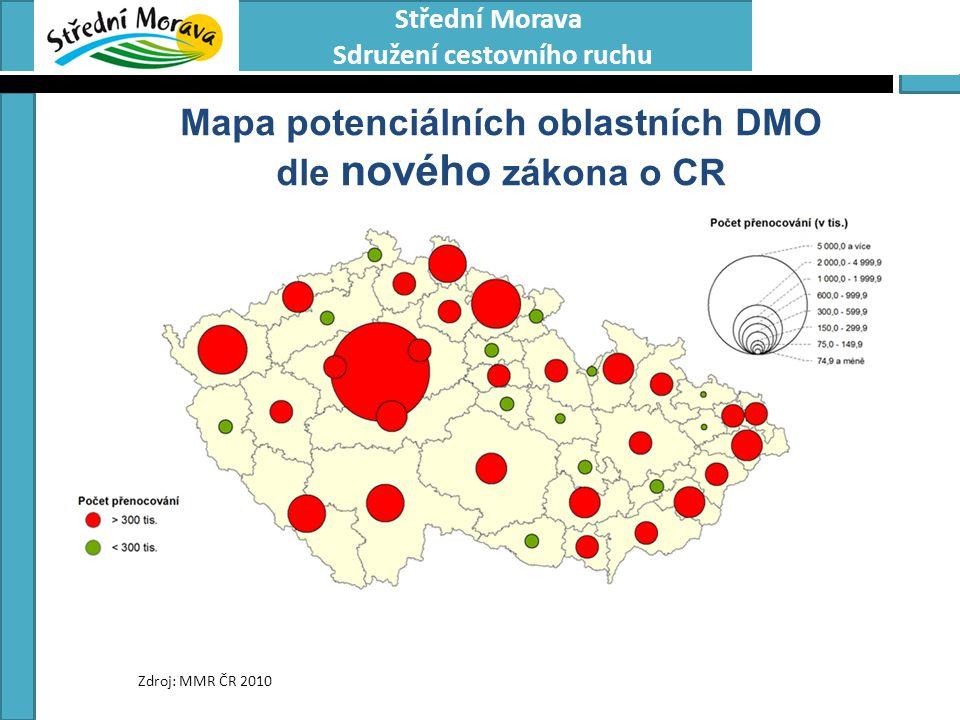 Mapa potenciálních oblastních DMO dle nového zákona o CR