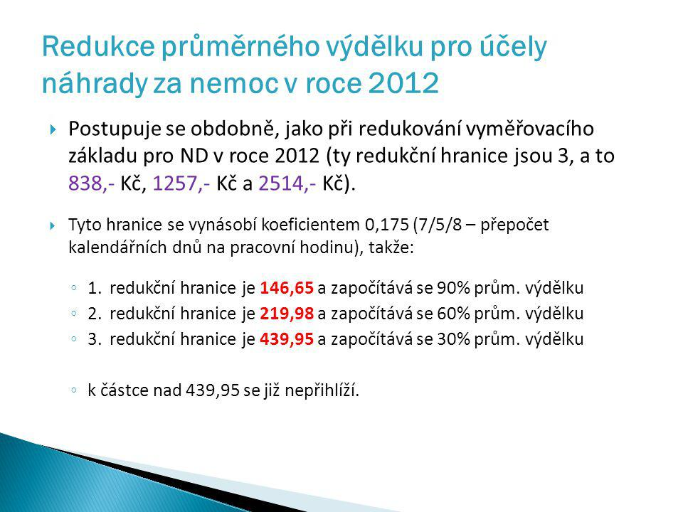Redukce průměrného výdělku pro účely náhrady za nemoc v roce 2012