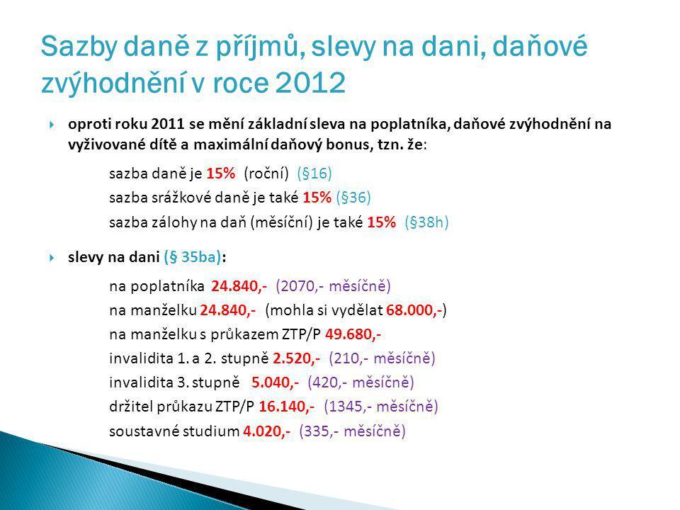 Sazby daně z příjmů, slevy na dani, daňové zvýhodnění v roce 2012
