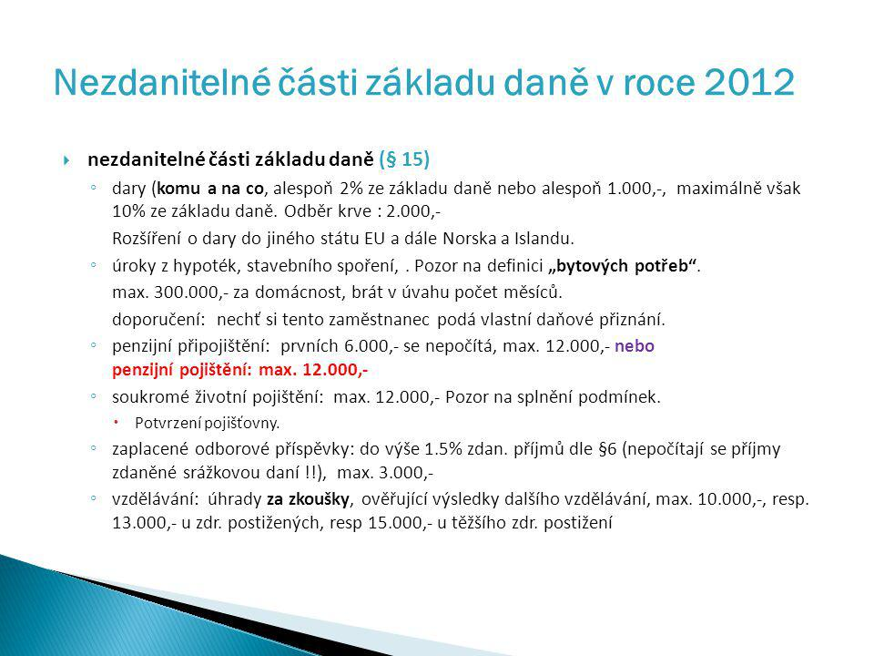 Nezdanitelné části základu daně v roce 2012