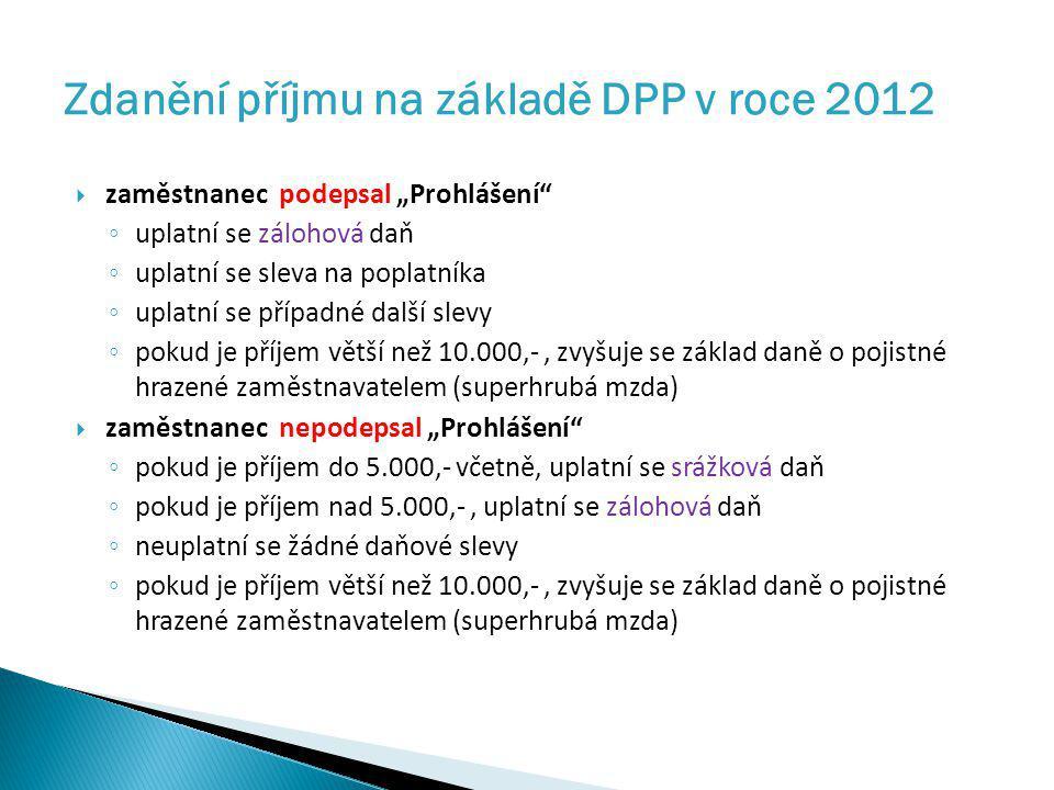 Zdanění příjmu na základě DPP v roce 2012