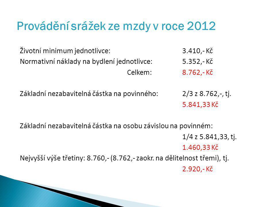 Provádění srážek ze mzdy v roce 2012